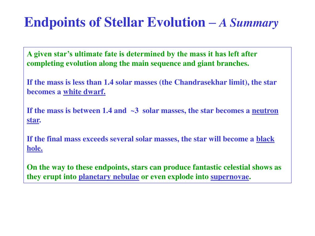 Endpoints of Stellar Evolution –