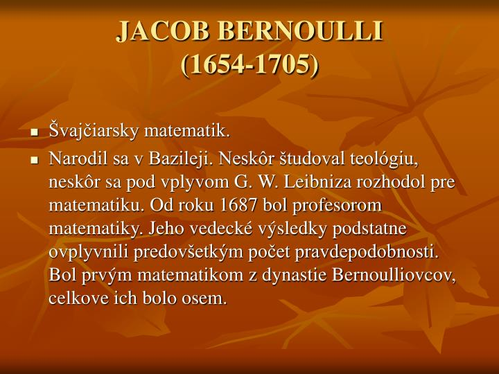 Jacob bernoulli 1654 1705