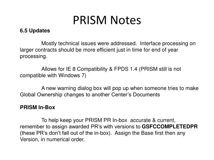 PRISM Notes