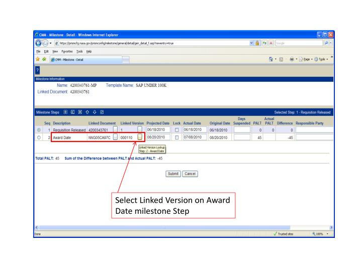 Select Linked Version on Award Date milestone Step