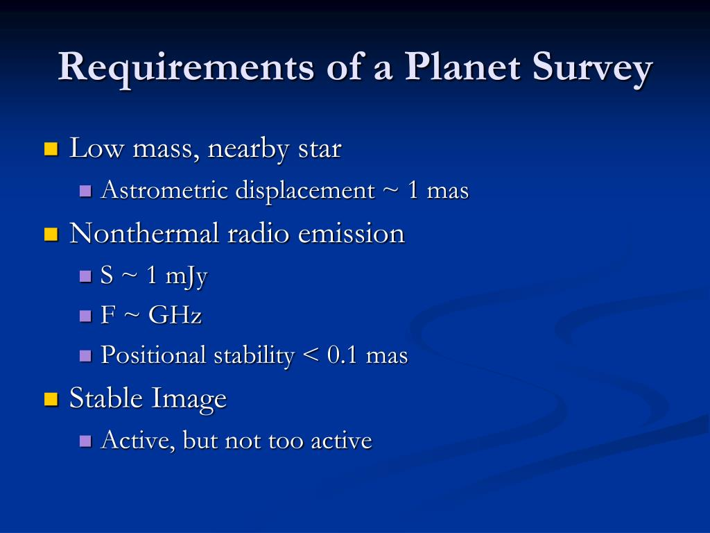 Requirements of a Planet Survey