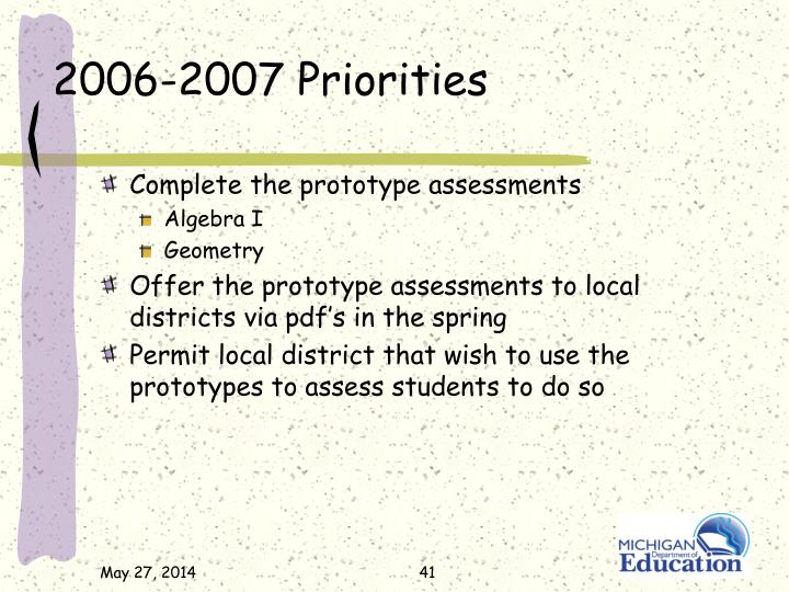 2006-2007 Priorities