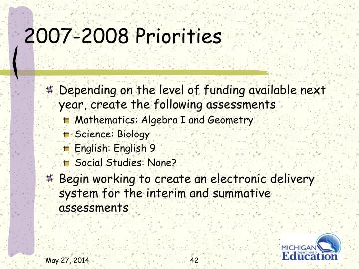 2007-2008 Priorities