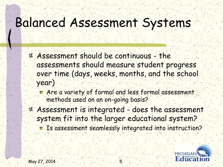 Balanced Assessment Systems