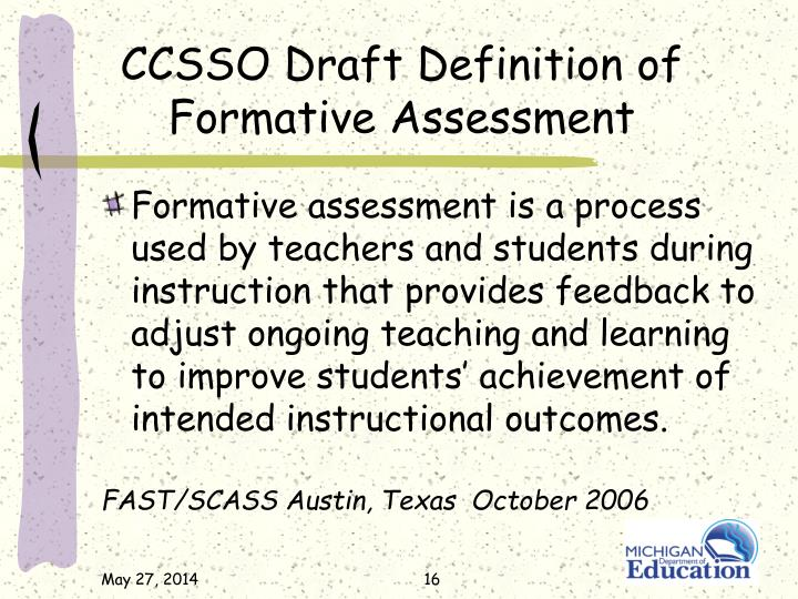 CCSSO Draft Definition of Formative Assessment