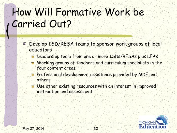 How Will Formative Work be Carried Out?