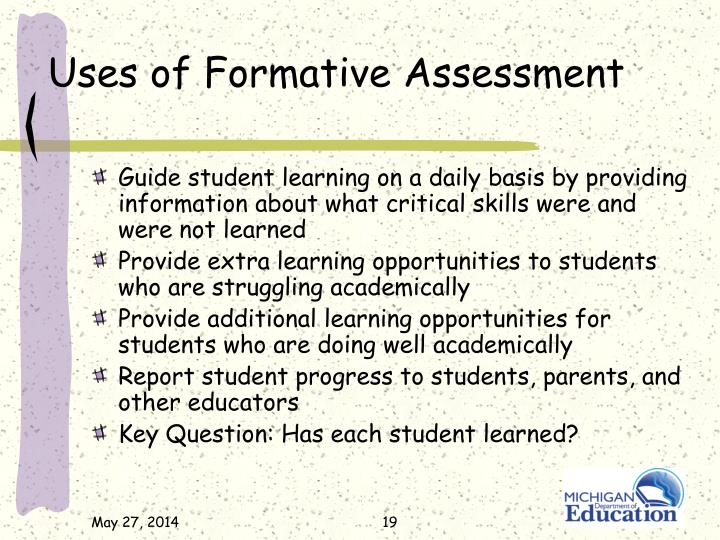 Uses of Formative Assessment