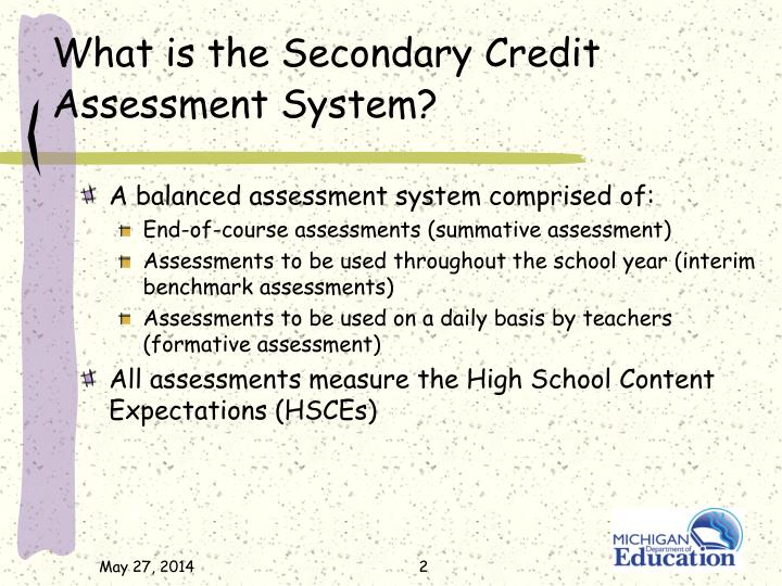What is the Secondary Credit Assessment System?