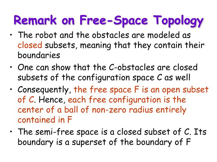 Remark on Free-Space Topology