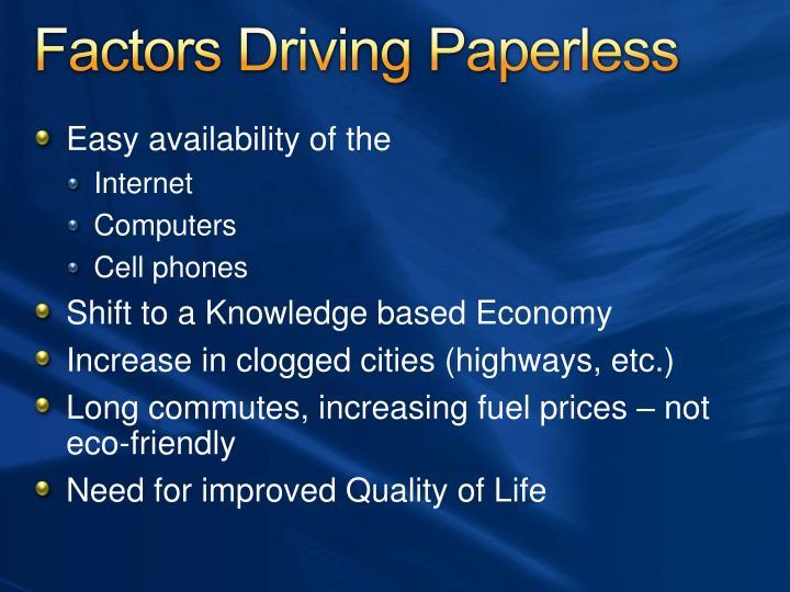 Factors Driving Paperless