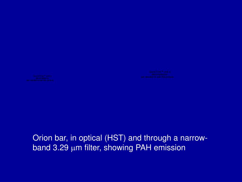 Orion bar, in optical (HST) and through a narrow-band 3.29