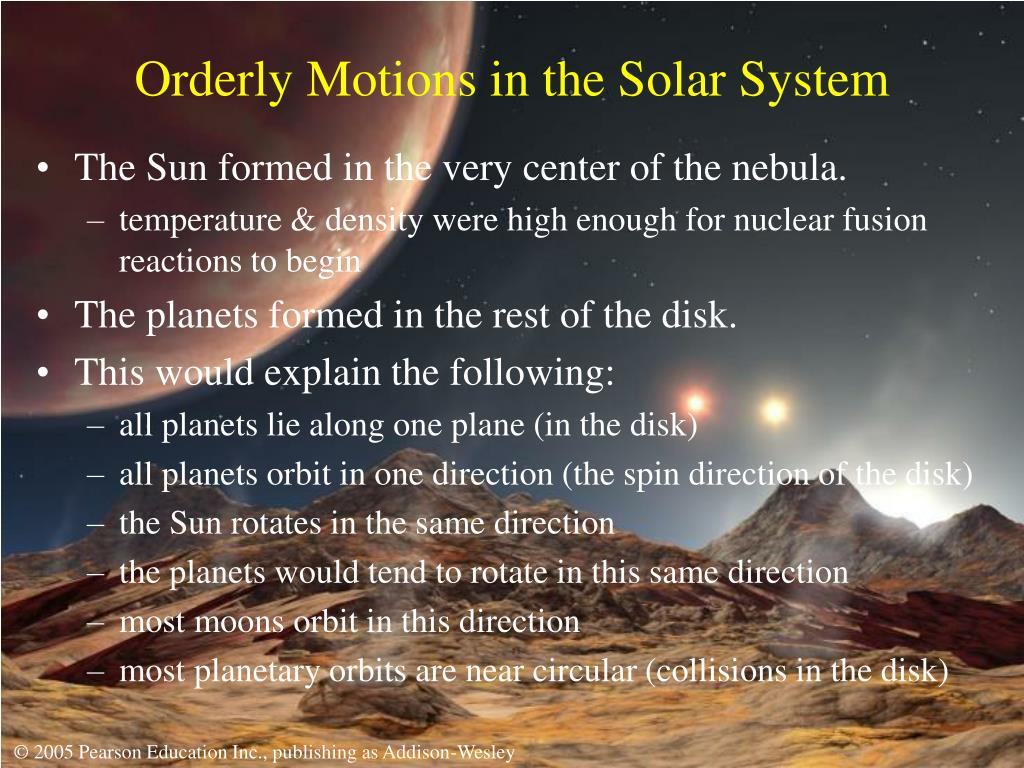 Orderly Motions in the Solar System