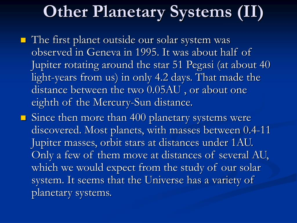 Other Planetary Systems (II)