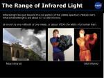 the range of infrared light