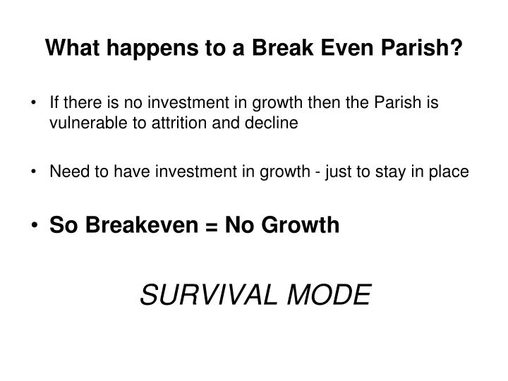 What happens to a Break Even Parish?