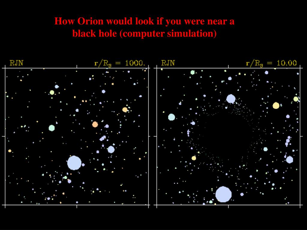 How Orion would look if you were near a black hole (computer simulation)