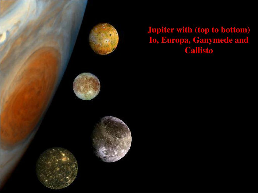 Jupiter with (top to bottom)