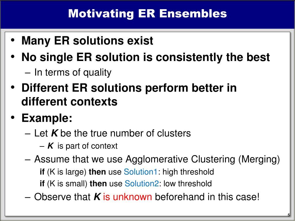 Motivating ER Ensembles