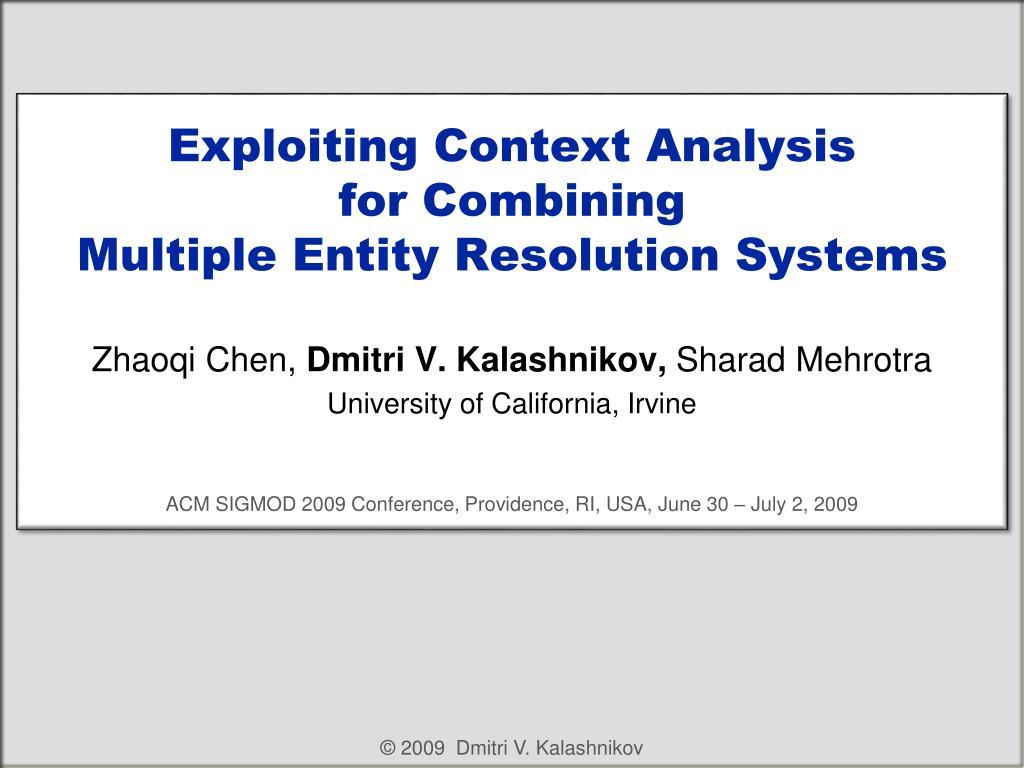 Exploiting Context Analysis