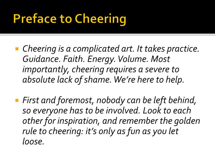 Preface to Cheering