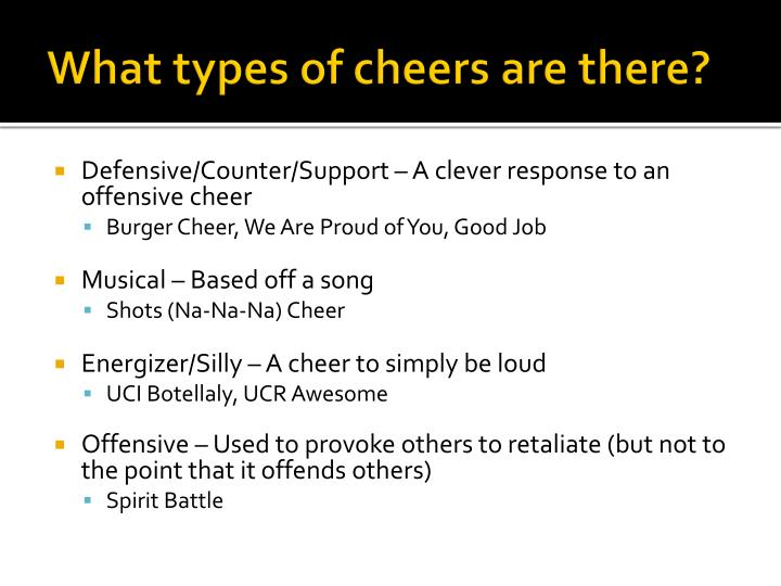 What types of cheers are there?