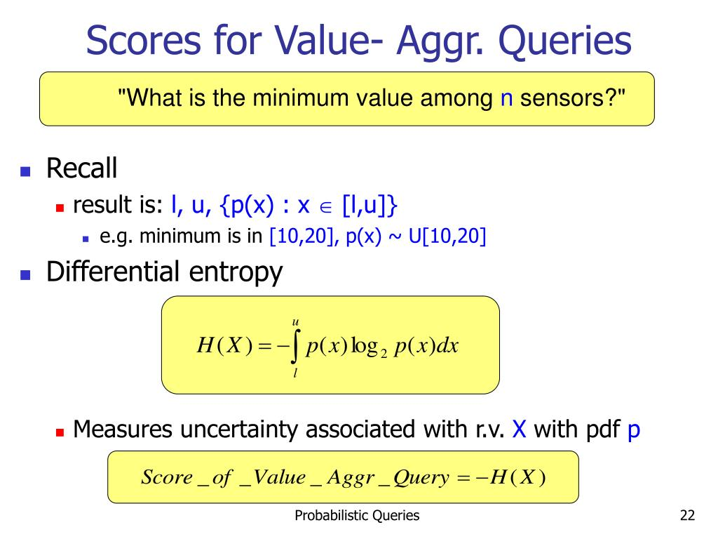 Scores for Value- Aggr. Queries