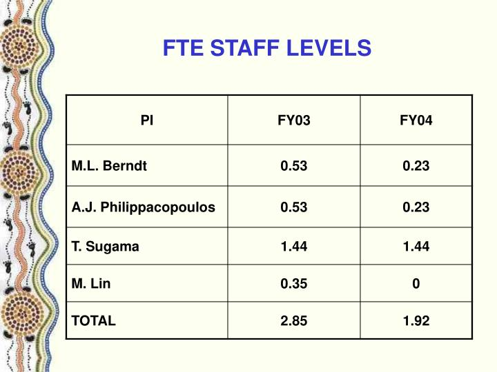 FTE STAFF LEVELS