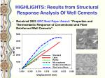 highlights results from structural response analysis of well cements