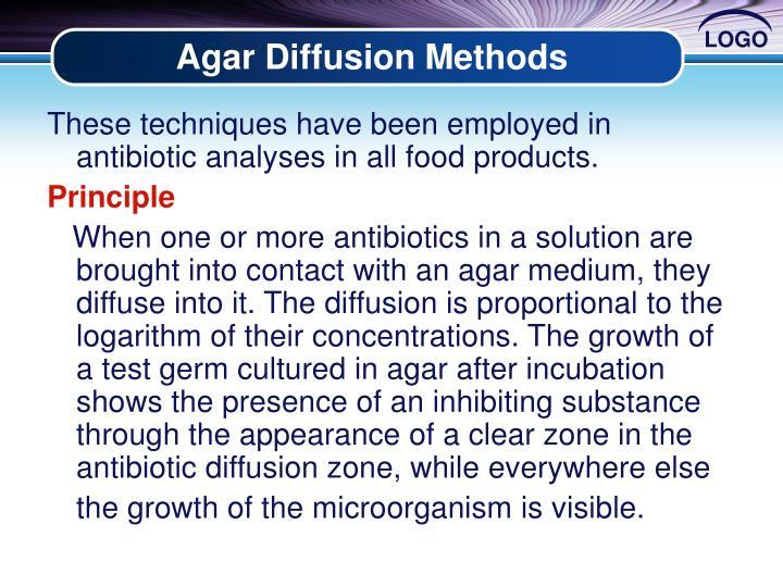 Agar Diffusion Methods