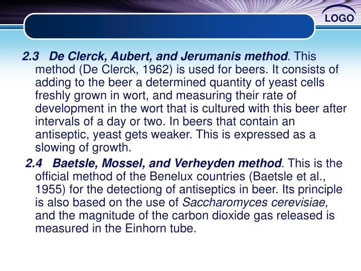 2.3   De Clerck, Aubert, and Jerumanis method