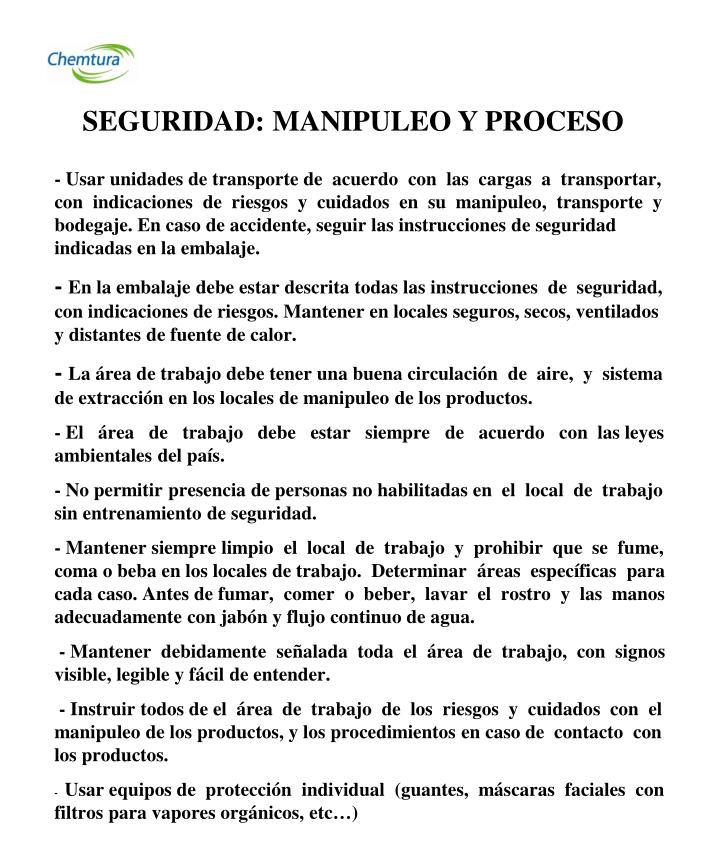 SEGURIDAD: MANIPULEO Y PROCESO