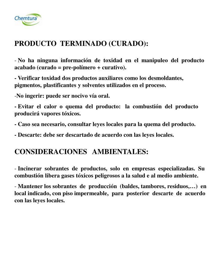 PRODUCTO  TERMINADO (CURADO):