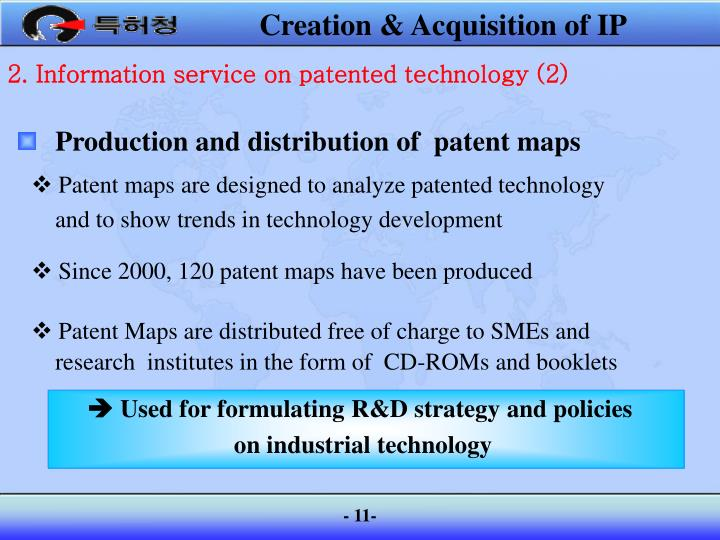Production and distribution of  patent maps