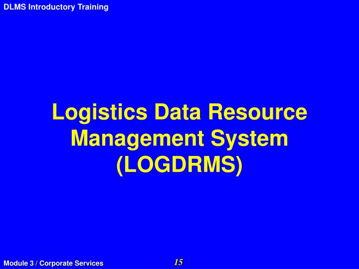 Logistics Data Resource Management System