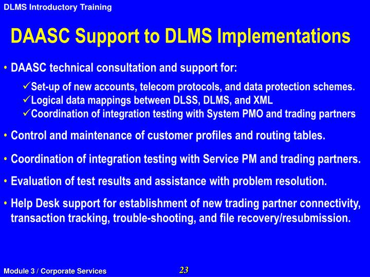 DAASC Support to DLMS Implementations