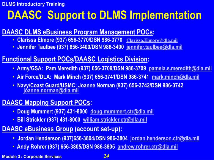 DAASC  Support to DLMS Implementation