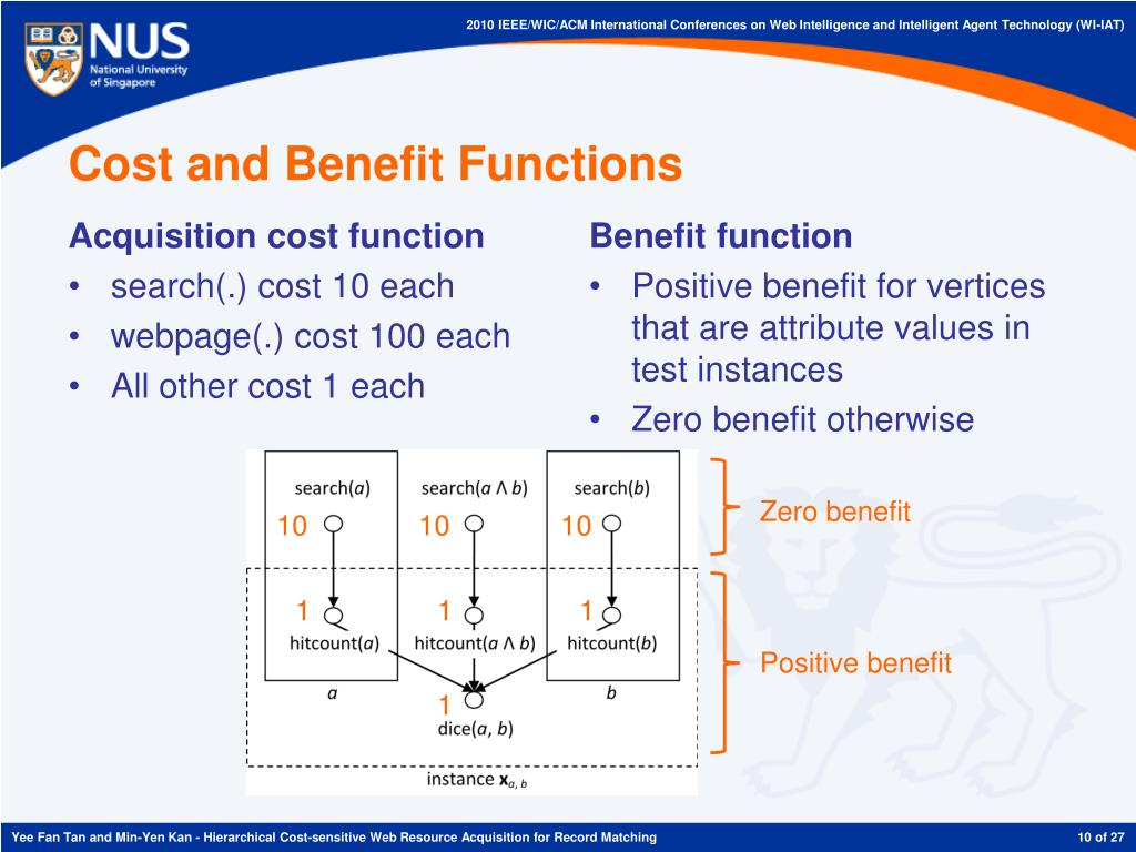 Cost and Benefit Functions
