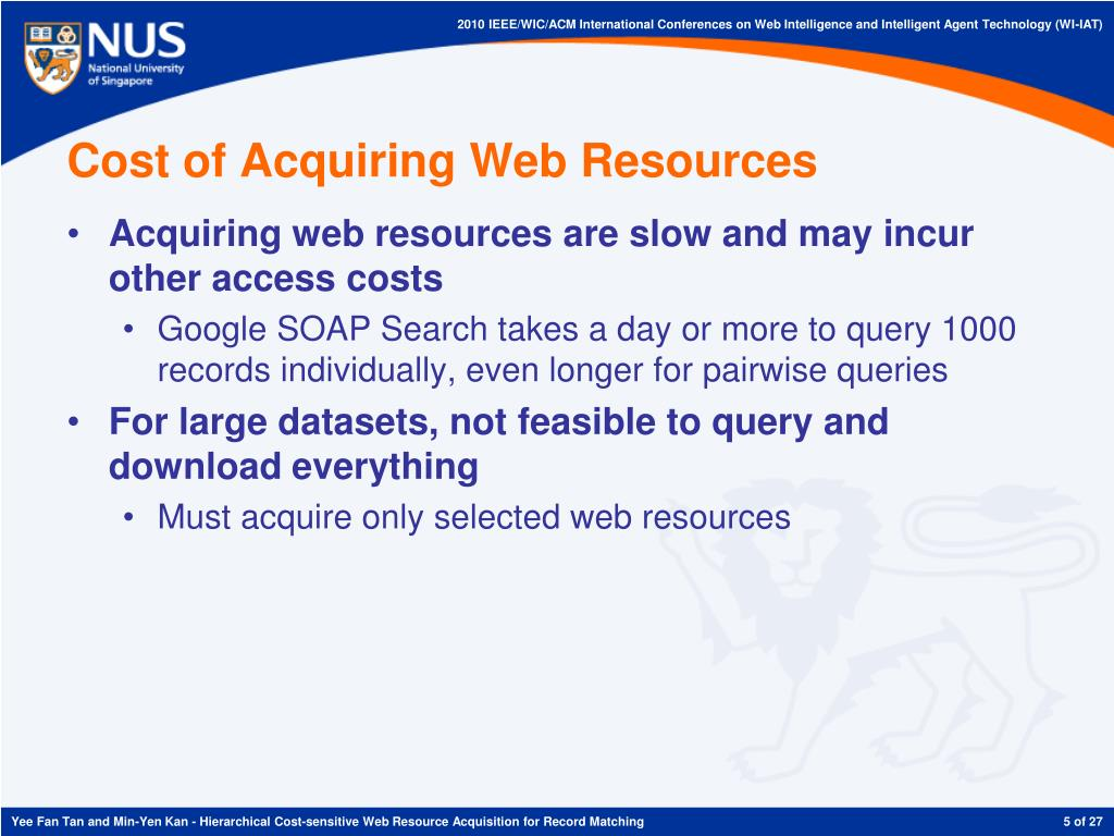 Cost of Acquiring Web Resources