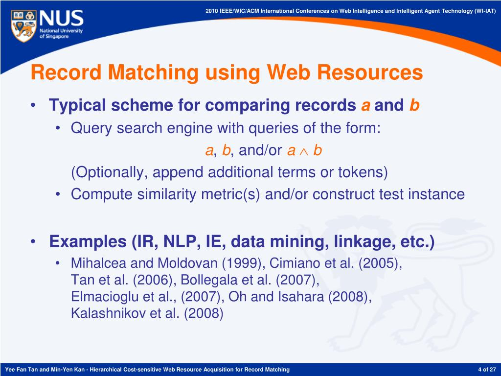 Record Matching using Web Resources