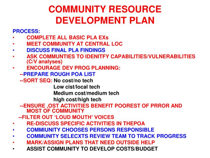 COMMUNITY RESOURCE DEVELOPMENT PLAN