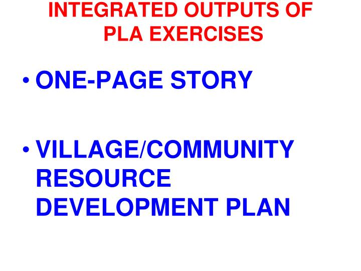 INTEGRATED OUTPUTS OF