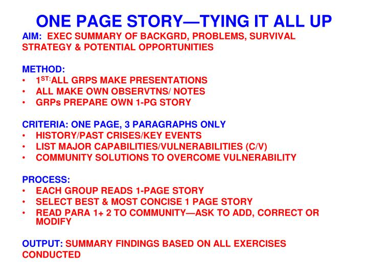 ONE PAGE STORY—TYING IT ALL UP