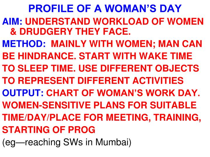 PROFILE OF A WOMAN'S DAY