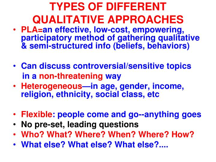 TYPES OF DIFFERENT QUALITATIVE APPROACHES