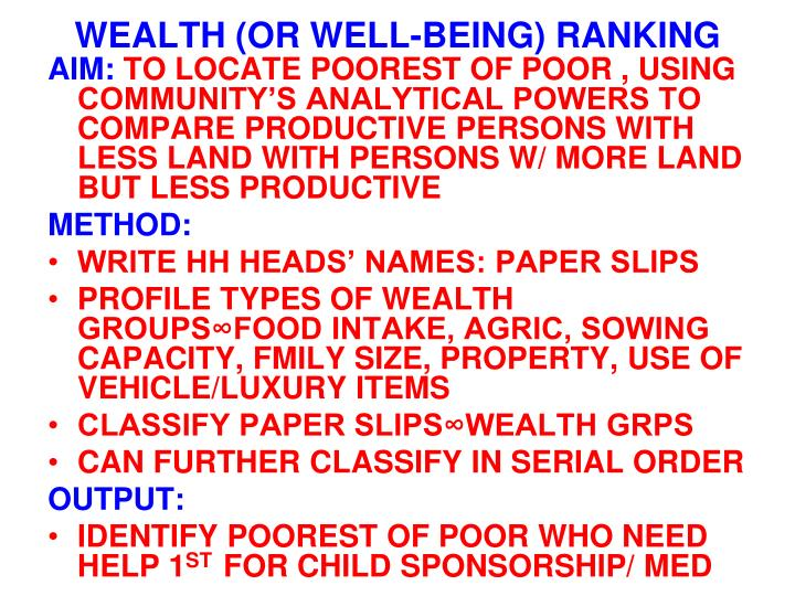 WEALTH (OR WELL-BEING) RANKING