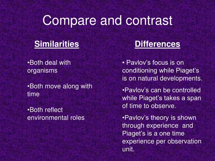 pavlov and piaget Get an answer for 'what are some similarities and differences between freud's and piaget's developmental models specifically, are there important developments that happen around the same age .