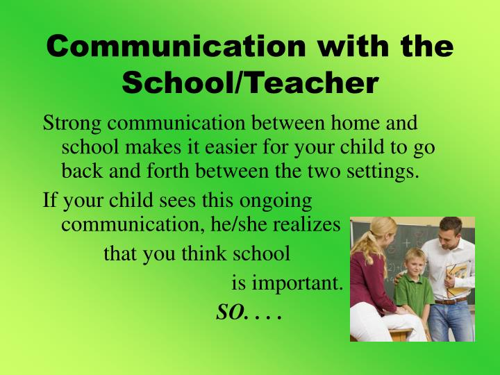 Communication with the School/Teacher