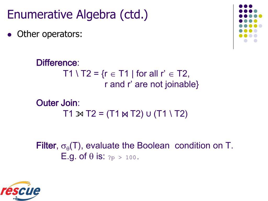 Enumerative Algebra (ctd.)