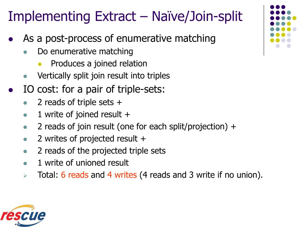 Implementing Extract – Naïve/Join-split