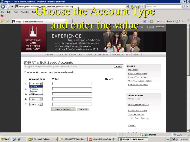 Choose the Account Type